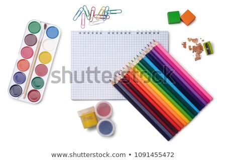defter · renkli · kalemler · beyaz · nesne - stok fotoğraf © teerawit