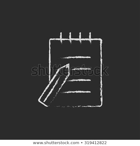 Writing pad and pen icon drawn in chalk. Stock photo © RAStudio