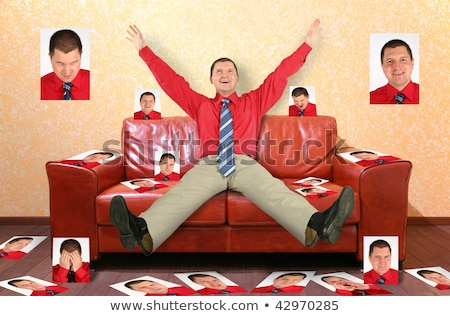 man on the leather red sofa with the photographs, collage Stock photo © Paha_L