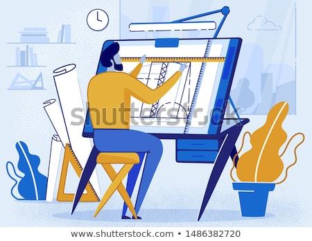 Foto stock: Ilustração · arquiteto · branco · negócio · papel · construção
