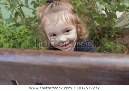 Portre masum çocuk ahşap arkasında yüz Stok fotoğraf © zurijeta