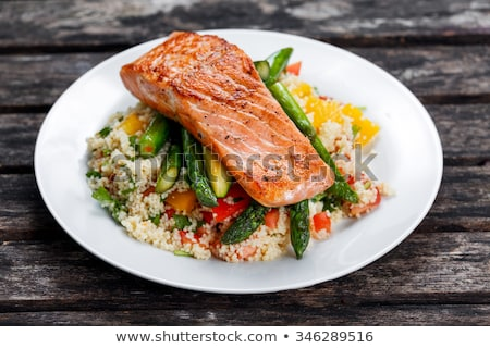 sült · lazac · zöldségek · közelkép · lövés · steak - stock fotó © digifoodstock