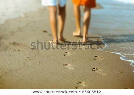 человека взрослый след пляж песок воды Сток-фото © meinzahn