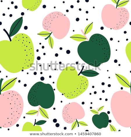 Stockfoto: Naadloos · vector · patroon · appels · Rood · groene