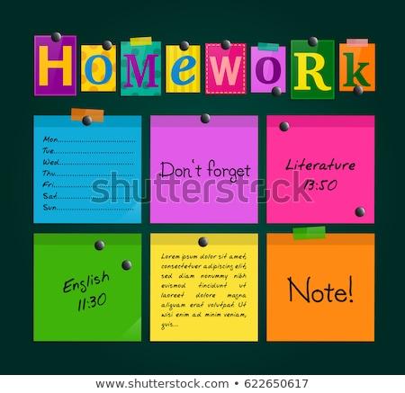 Praca domowa tekst notatnika działalności biuro papieru Zdjęcia stock © fuzzbones0
