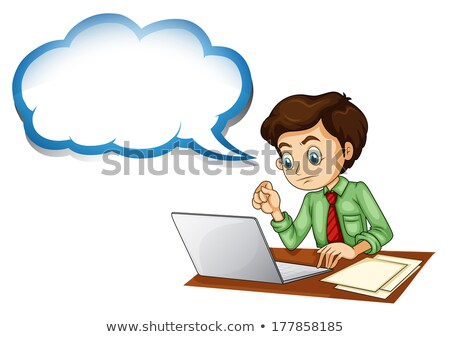 A boy using a gadget with an empty callout Stock photo © bluering