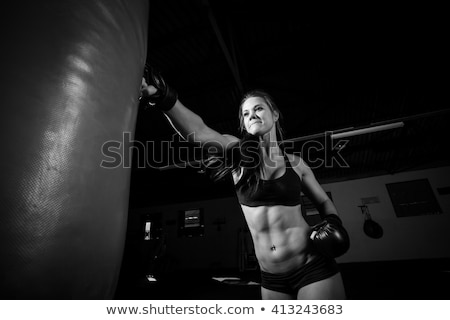 black and white boxer portrait in a black studio stock photo © vauvau