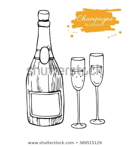 стекла · шампанского · эскиз · икона · веб · мобильных - Сток-фото © rastudio