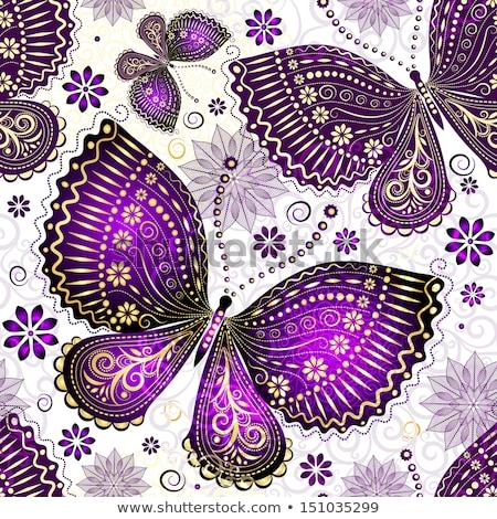pattern · fiori · farfalla · bianco · verde · abstract - foto d'archivio © blackmoon979