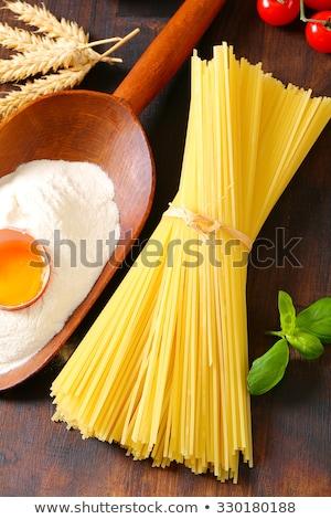 aszalt · spagetti · merítőkanál · liszt · friss · tojás - stock fotó © digifoodstock