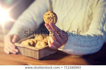 Mujer Navidad avena cookies vacaciones Foto stock © dolgachov
