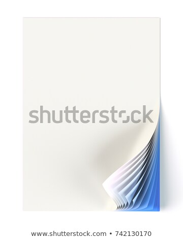 Stockfoto: Blank Document Mock Up With Blue Monochrome Curled Corner