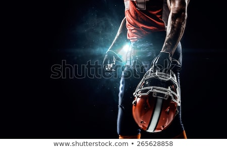 Stok fotoğraf: Amerikan · futbol · siyah · oyun · oturma