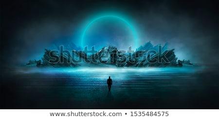 Sziget holdfény illusztráció égbolt fa buli Stock fotó © adrenalina