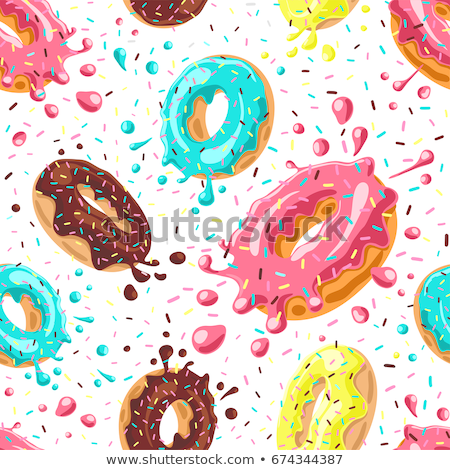 Donuts seamless pattern. Desserts, Sweets vector background Stock photo © popaukropa