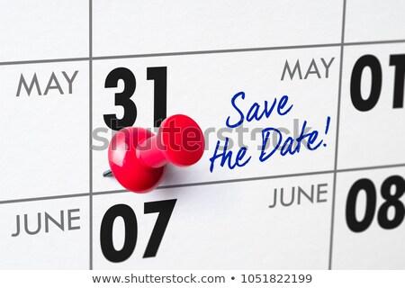 Foto stock: Pared · calendario · rojo · pin · 31 · cumpleanos