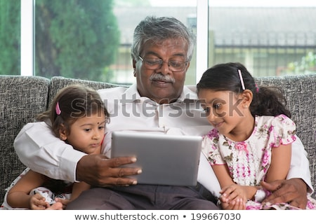 Grands-parents petits enfants portrait heureux asian Photo stock © szefei