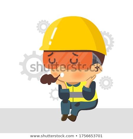 Cartoon Bored Construction Worker  Stock photo © cthoman