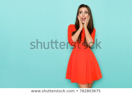 Sorrindo turquesa vestir jogar piano menina Foto stock © acidgrey