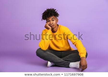 Portré unatkozik afroamerikai fiú ül padló Stock fotó © deandrobot