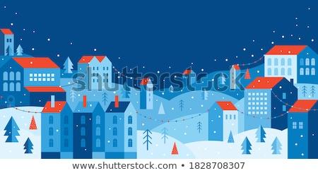 Tél éjszaka tájkép vektor karácsony hóesés Stock fotó © kostins