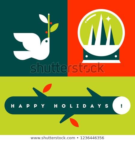 ストックフォト: グリーティングカード · 白 · 鳩 · 雪 · 世界中 · クリスマスツリー