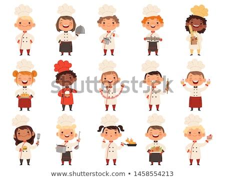 Cartoon мальчика официант улыбаясь иллюстрация дети Сток-фото © cthoman