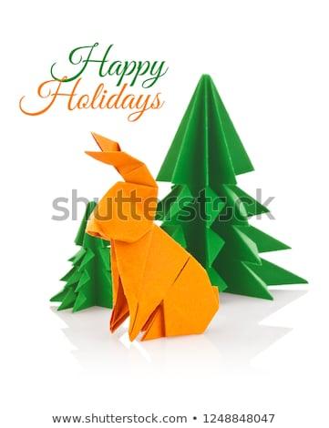 Lapin vert Noël arbres origami isolé Photo stock © brulove