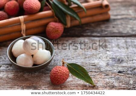 新鮮な · 葉 · 白 · フルーツ · 背景 - ストックフォト © artjazz