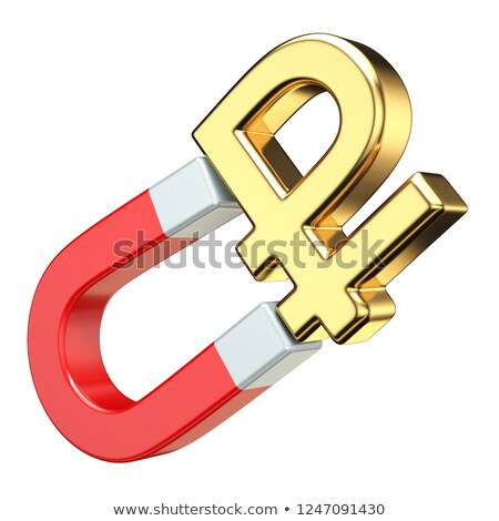 gold ruble currency sign on red magnet 3d stock photo © djmilic