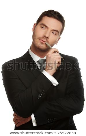 portret · nadenkend · zakenman · pen · hand · man - stockfoto © Minervastock