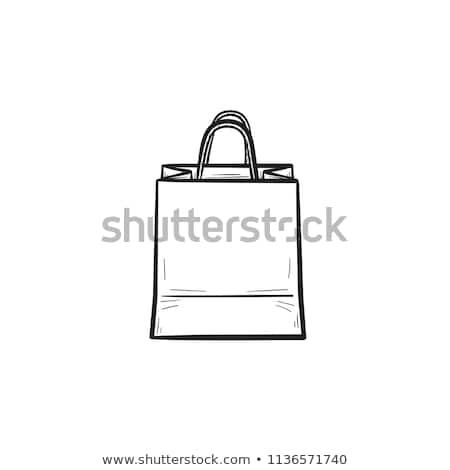 Stock fotó: Bevásárlószatyor · kézzel · rajzolt · skicc · firka · ikon · bevásárlóközpont
