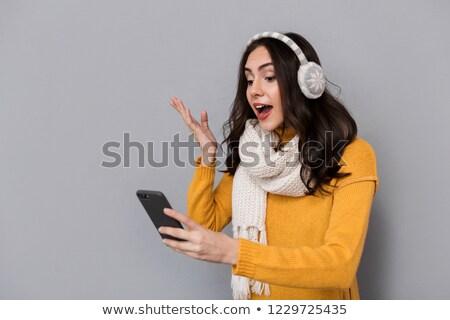 肖像 興奮した 女性 着用 耳 スカーフ ストックフォト © deandrobot