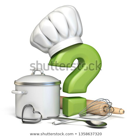 question mark with cooking hat and kitchen utensils 3d stock photo © djmilic