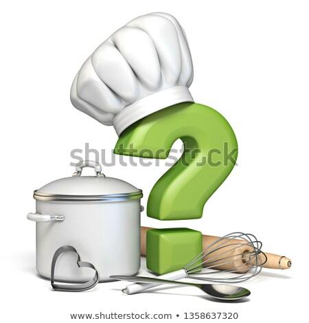 Kérdőjel főzés kalap konyha kellékek 3D Stock fotó © djmilic