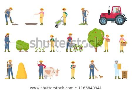 Farmer Spraying Bushes Icon Vector Illustration Stock photo © robuart
