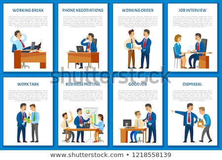 business meeting and working order boss gives info stok fotoğraf © robuart