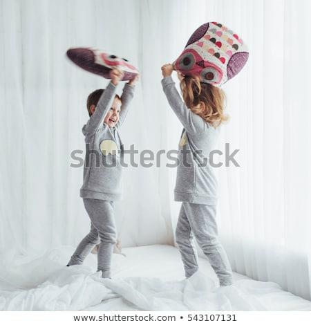 bataille · d'oreillers · deux · oreillers · visages · dormir · chambre - photo stock © colematt