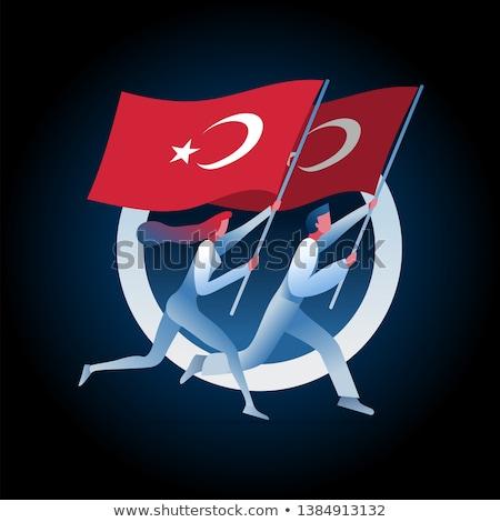 Man vrouw lopen turks vlaggen ontwerp Stockfoto © sgursozlu