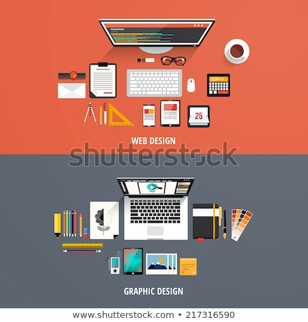 Computerapparatuur grafische web design vector slide ingericht Stockfoto © robuart