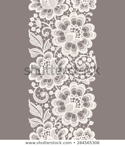 Seamless vector pattern - lace design with flowers and swirls, detailed ornament in black on white b Stock photo © RedKoala