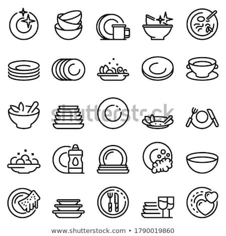 Ezüst étkészlet szett ikon árnyék tükröződés terv Stock fotó © angelp