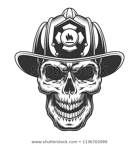 Sketch fireman skull Stock photo © netkov1