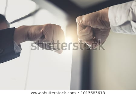 teamwork of business partnership giving fist bump to greeting st stock photo © freedomz