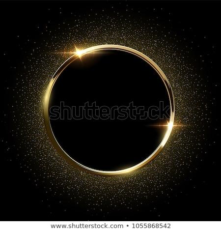 Fényes arany keret fekete terv absztrakt Stock fotó © SArts