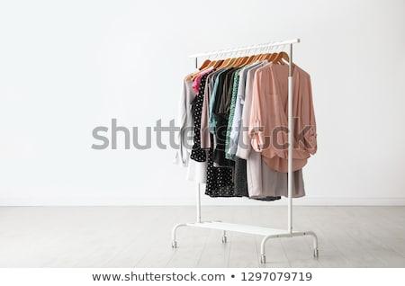 Odzież rack 3d ilustracji odizolowany biały domu Zdjęcia stock © montego