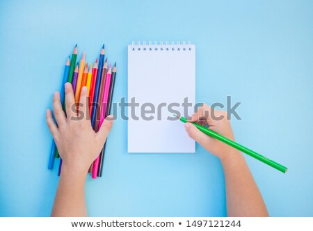 School or office stationery on colorful background. Back to School. Frame, copy space. Top view. sup Stock photo © Illia
