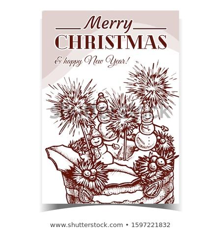 Noel turta dekore edilmiş poster vektör yılbaşı Stok fotoğraf © pikepicture