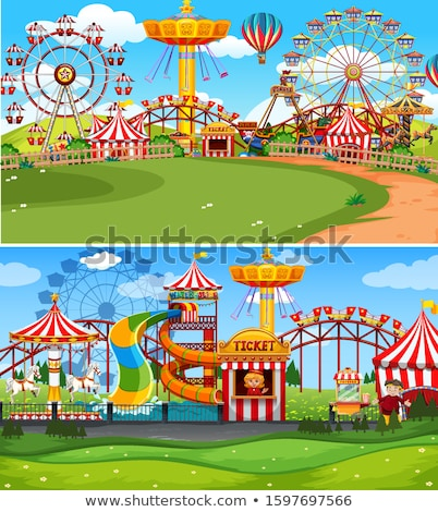 Two scenes of circus with many rides Stock photo © bluering