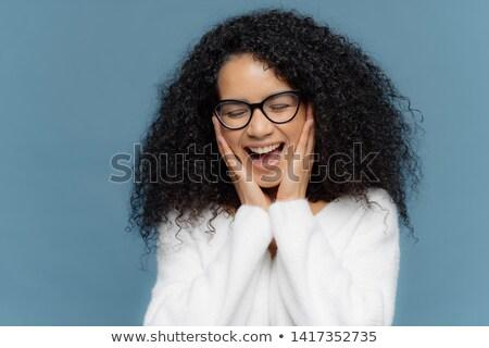 Kadın yanaklar sevinç gözleri kapalı durdurmak afro Stok fotoğraf © vkstudio